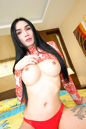 Intake and elegant Ladyboy Bella is wearing a blunt red-hot and lifeless dress.