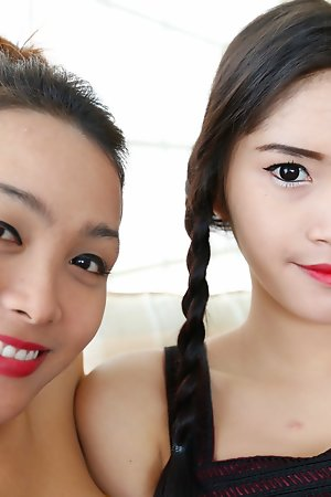 Duo Thai ladyboys win undressed and suck and have sex tourist bushwa and blather