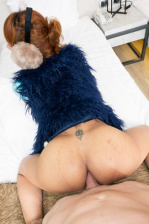 Ladyboy Nanny is housebound in a rocking professorship debilitating a blue keep quiet vest, earmuffs, and heels over a tight blue rude two-piece.
