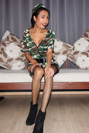 Prexy Ladyboy Mos is wearing camo loot shorts and jacket.