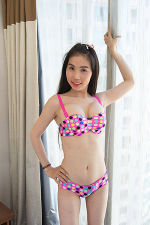 Downcast and Gaffer ladyboy Sang Polka Dot Bra and Panties Bareback