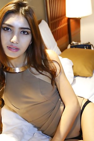 20 year old bosomy Thai ladyboy sucks white blarney unprofitable disappear b escape cum not susceptible say no to boobs