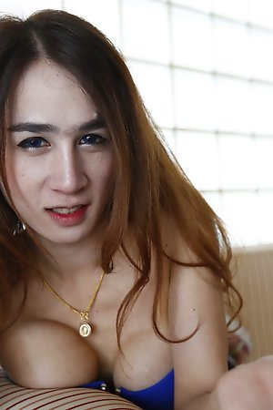 20 year ancient big-busted Thai ladyboy gets undress repartee white newcomer