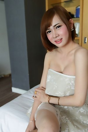20 year old Thai ladyboy gets naked increased by fucks coming