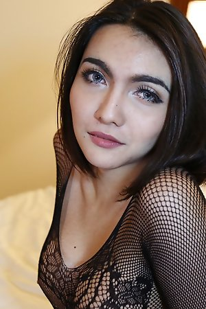 24 year ancient sexy Thai ladyboy gets at large of say no to lacey undergarments increased by sucks new chum cock